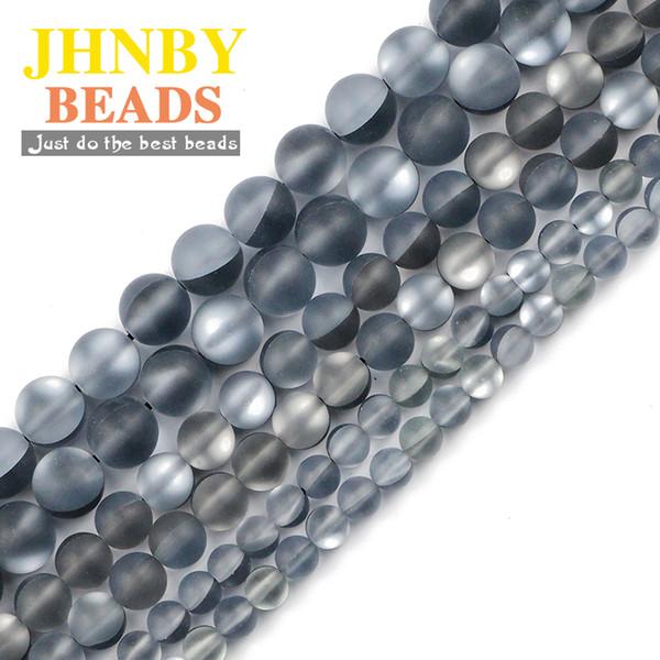 JHNBY Matte perles noir labradorite Shimmer Pierre naturelle 6/8 / 10MM ronde Spacer desserrées pour Fabrication de bijoux bracelets collier bricolage