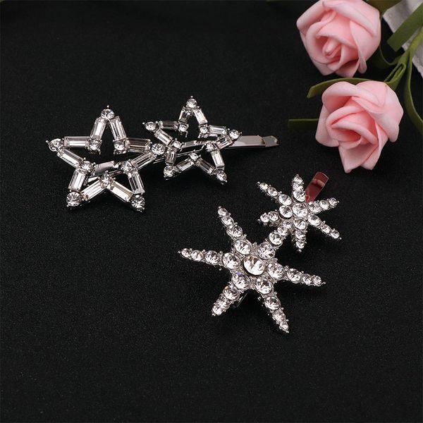 1pc Fashion Sweet Lovely Flash Rhinestone Snowflake Star Hairpins Women Beautiful Jewelry Accessories Alloy Hairpin