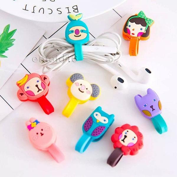 Cute Cartoon Multi Patterns Cavo per auricolari Cavo cavo Organizzatore Supporto per iPhone Samsung Cuffie Cavo USB