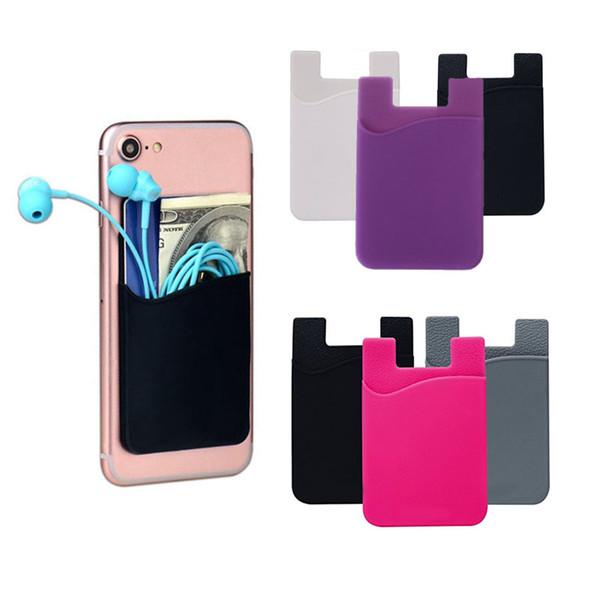 Portafoglio in silicone Portafoglio in contanti Portafoglio adesivo 3M Adesivo Stick-on ID Porta carte di credito per iPhone Samsung Mobile Phone