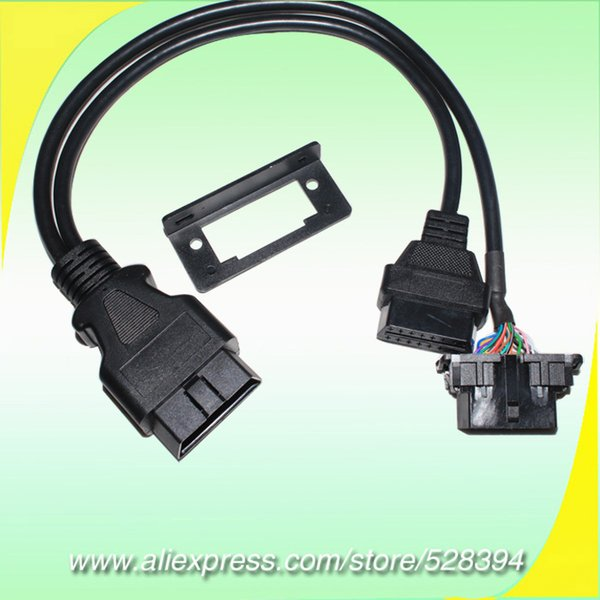 50cm 16 pin OBD OBDII OBD2 Splitter Y Cable J1962 Male to Dual Female J1962 Snap-in Universal Bracket For many Car DHL
