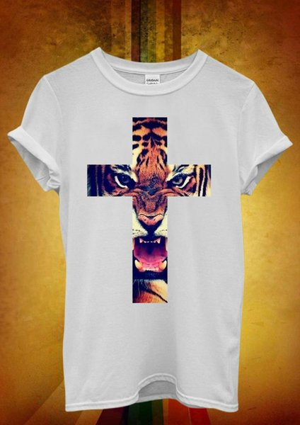 Leopard Cross Roar Meow Cat Hipster Men T Shirt 502, Tops al por mayor Tee personalizada Ambiental impreso Tshirt barato al por mayor