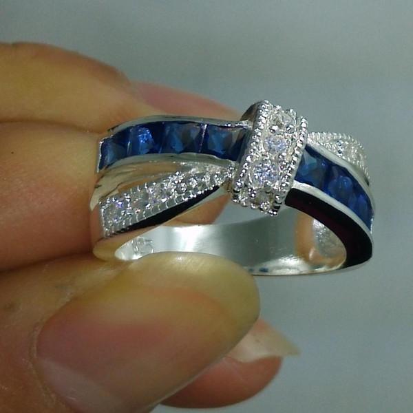 NEW 100% Brand free shipping Fine Jewelry 925 sterling silver blue sapphire Gem Women wedding Belt buckle Ring size6/7/8/9