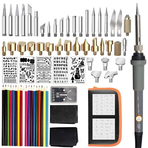 71PCS 60W temperatura ajustable eléctrico del kit del soldador quema de madera Conjunto de lápiz Talla de las herramientas de soldadura Pyrography lápiz del calor