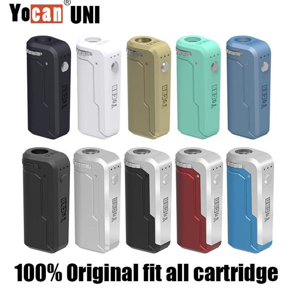 Auténtica Yocan UNI Mod Yocan caja a mano Precalentar el voltaje de la pluma de Vape ajustable con 650mAh 500mAh batería para 510 Tema cartucho de aceite Adaptador