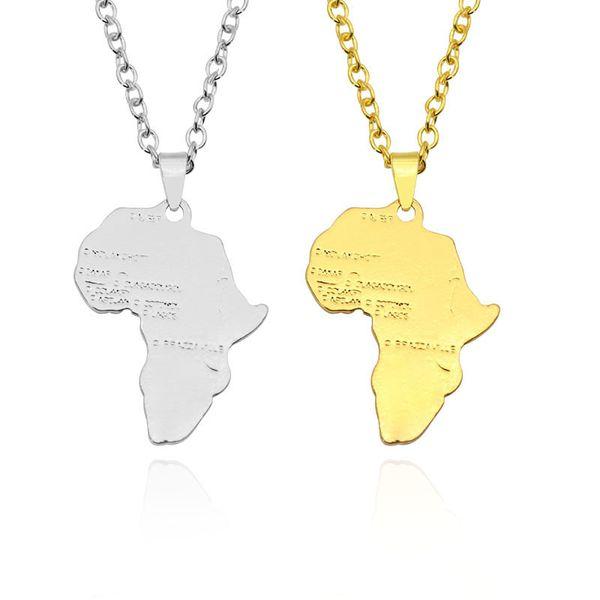 África mapa colgante collar para mujeres//hombres plata//oro color joyas etíopes
