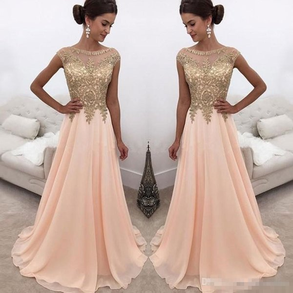 2018 Peach Sheer Crew Neck Long Evening Dresses Gold Lace Appliqued Cap Sleeves A Line Chiffon Formal Party Wear Formal Prom Dresses