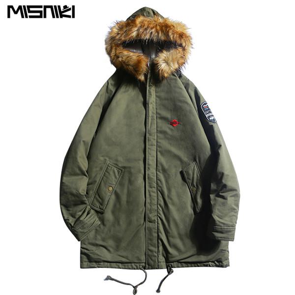Misniki 2019 Novos Casacos de Inverno dos homens Parkas Masculinos Casuais Grossos Outwear Casacos Com Capuz De Pele Sobretudos Quentes JP16