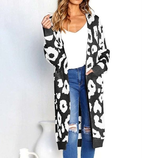 Estampa de leopardo Longo Cardigans Roupas de Inverno Mulheres Ponto Aberto Outono Bolsos Magros Casuais Camisola De Malha Casaco Mais tamanho