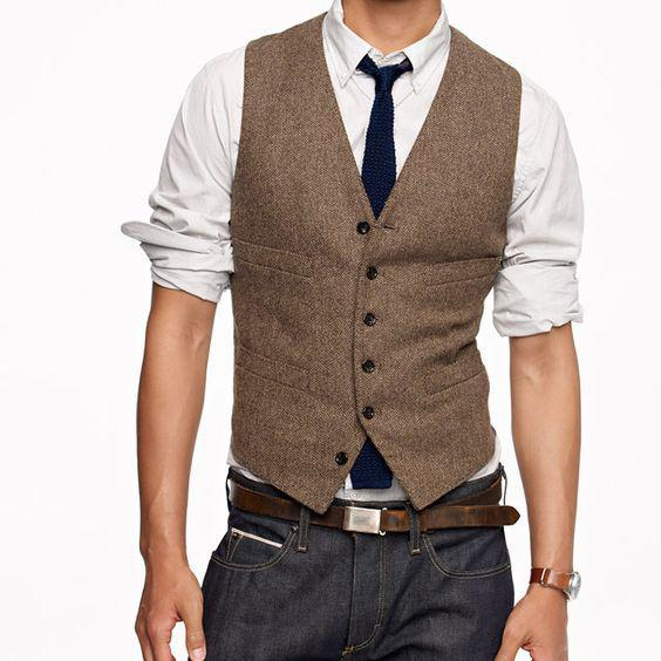 2019 Vintage Brown Tweed Chaleco de lana Espiga Chaleco de novio Estilo británico para hombre Chalecos de traje Slim Fit para hombre Chaleco Chaleco de boda personalizado