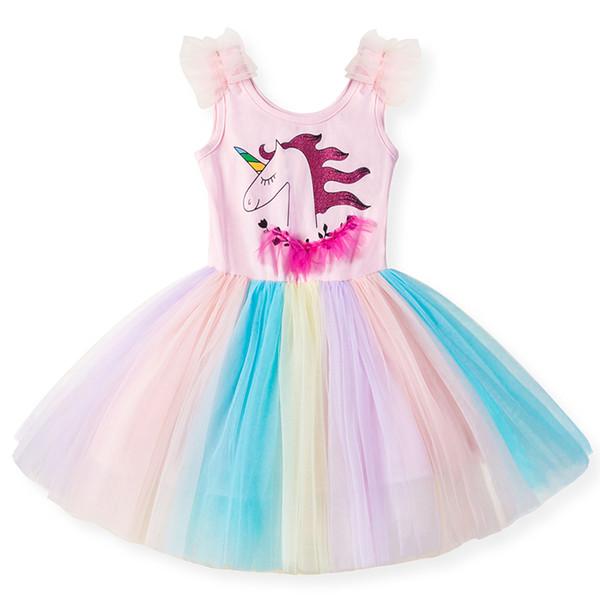 Compre 2019 Vestidos Unicornio Para Niñas Tutu Princesa Vestidos De Fiesta Arco Iris Traje De Cumpleaños Ropa Para Niñas Ropa De Niños De Verano A