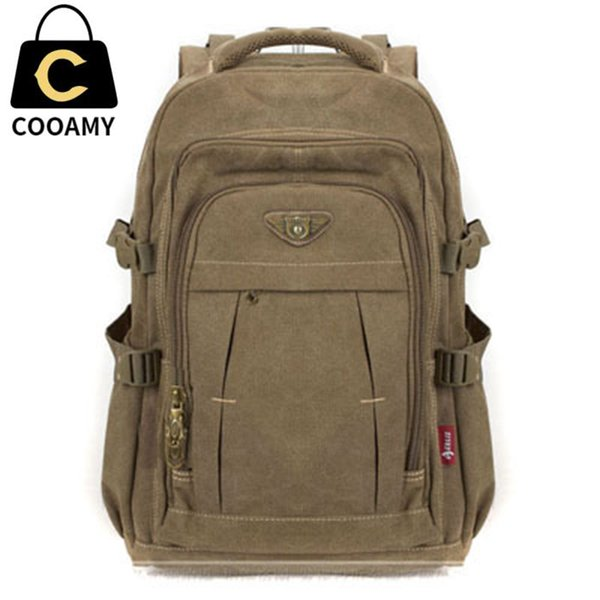 Men's Military Canvas Backpack Zipper Rucksacks Laptop Travel Shoulder Mochila Notebook Schoolbags Vintage College School Bags Y19061204