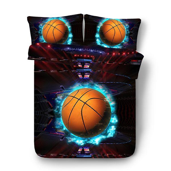 Genç Erkekler Spor Nevresim 3PCS 1 Yorgan Yatak Örtüsü 2 Yastık Shams İçin Basketbol Alev Yatak Seti (Yorgan dahil değil) Futbol Topu