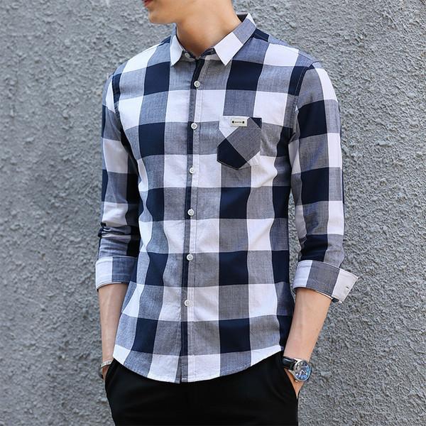 Vendita calda Camicie uomo Primavera Autunno Designer T-shirt a maniche lunghe Plaid Mens Capispalla a punto aperto Camicie casual Tops Abbigliamento 2 Colori M-3XL
