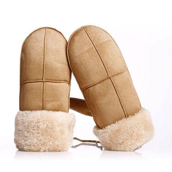 Women Girls Cute Gloves Thicken Warm Suede Leather Gloves Full Finger Mittens Winter Elegant Female Outdoor Ski