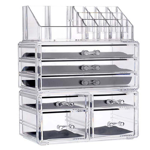 2019 New Clear Acrylic Makeup Organizer Large Capacity Storage Box Lipstick  Holder Drawers Make Up Organizer Cosmetic Tool Brush Case From