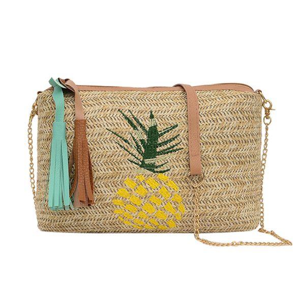 Fashion Ladies Tassel Pineapple Leaves Woven Wild Messenger Bags Pineapple leaves woven wild slant Shoulder Bag dropship