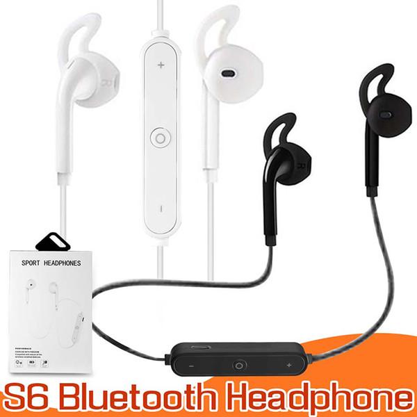 S6 Bluetooth Kopfhörer Stereo Handy Headset Mit Mikrofon Outdoor Sport Lauf Kopfhörer Für Iphone 7 Samsung s8 MP3 MP4 In Box