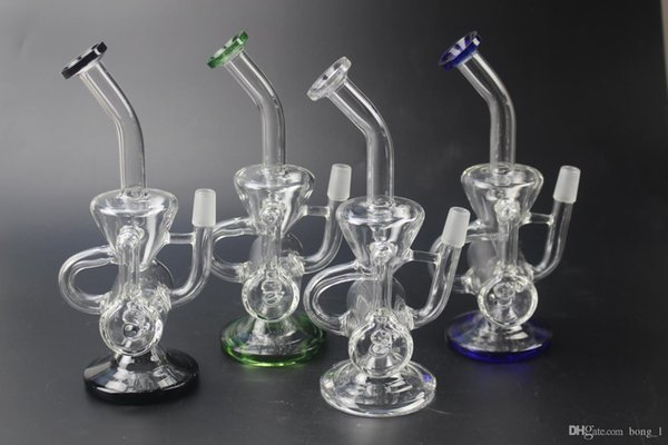 Vortex Glass Bong Recycler beaker wax heady Klein bongs dab oil rigs pipes with bowl Ceramic Carb Cap rig water pipe bubbler cyclone