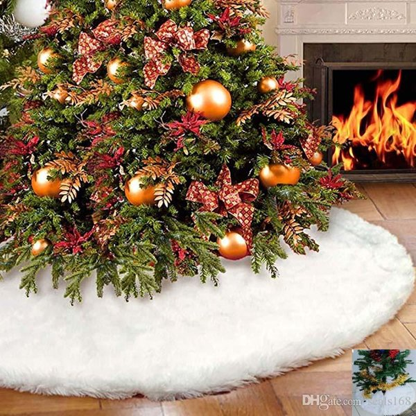 Christmas Tree Skirt Decoration White Velvet Tree Skirt Ornament Merry Christmas Year Party Holiday Home Decorations Burlap Xmas HH7-1875