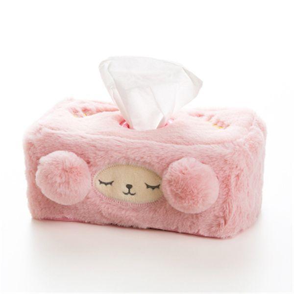 Cute Plush Tissue Box Home Decor Cover Car Tissue Holder Roll Paper Desktop Paper Storage Napkin Dispenser Pocket LZM050