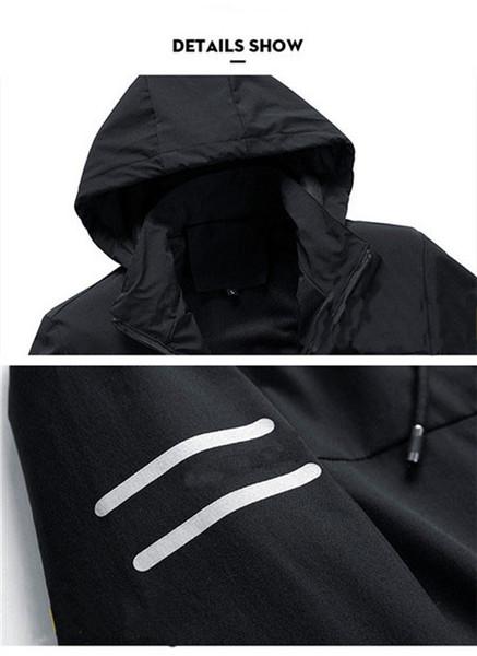 2019 de alta qualidade manga comprida 2019 New Designer Mens Fashion solto corta-vento e cores naturais para Esporte Coats com tamanho M-4XL QSL198214