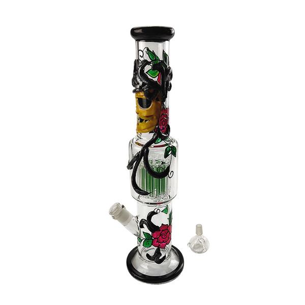 Big Glass Bong Recycler Сотовые нефтяные вышки Фильтр стеклянные водопроводные трубы новый дизайн стеклянная чаша 18,8 мм бонги аксессуары с улавливателем золы
