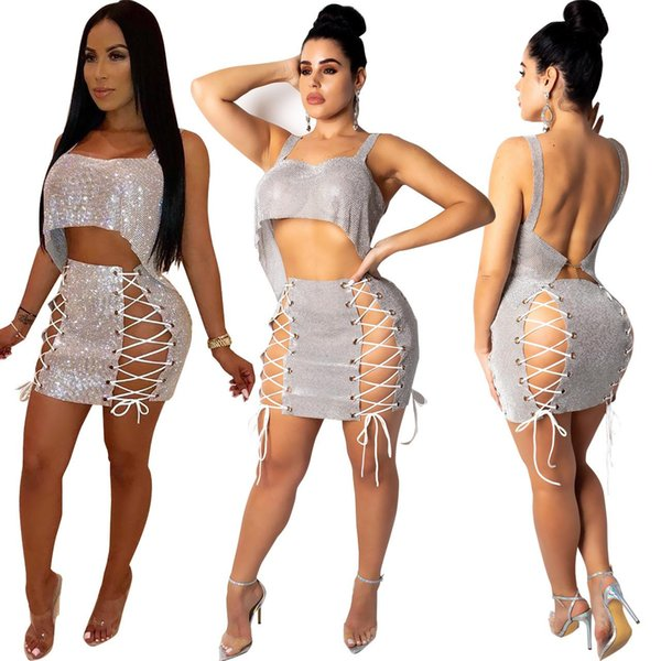 Frauen 2 Stück Outfits Kette Lace Up Sexy Club Zweiteiler Bling Short Crop Ärmellose Weste + Minirock Sets Cocktail Party Outfits