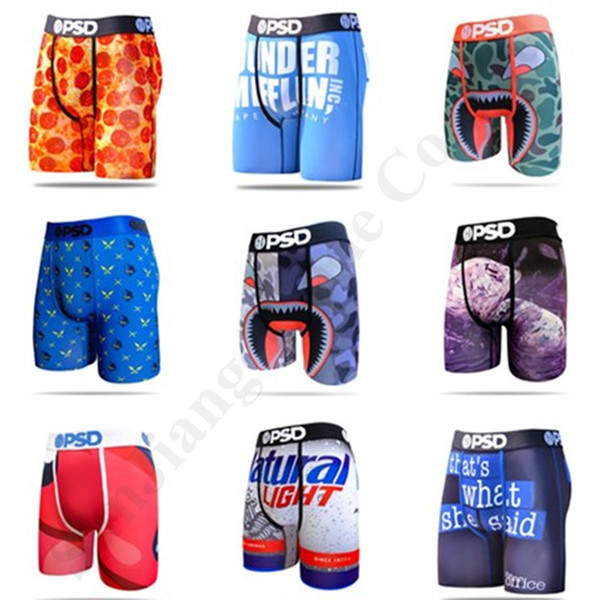 top popular Cheap PSD Boxers Shorts Mens Sports Underwears Floral Skateboard Street Fashion Streched Legging Shorts Stretch Long Boxer Briefs C111901 2021