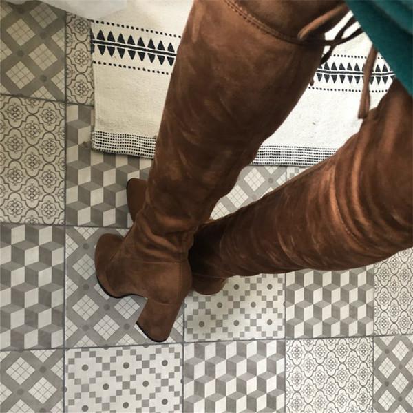 Kadınların ayakkabı düz Özlü Yüksek Seksi İnce Overknee botları