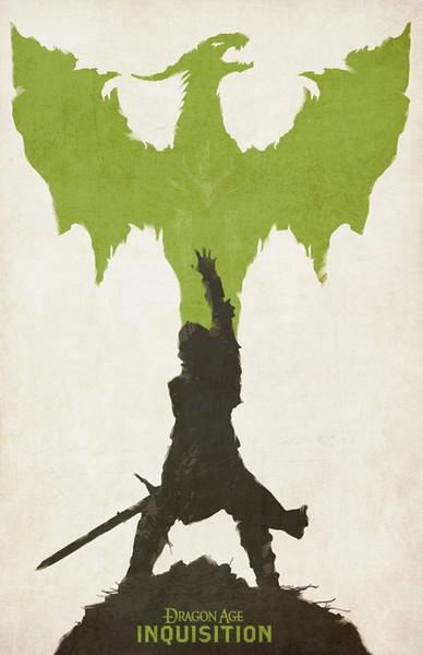 Dragon Age Inquisition Minimalista Decoración para juegos Póster con estampado de seda de 24x36 pulgadas 24x43 pulgadas