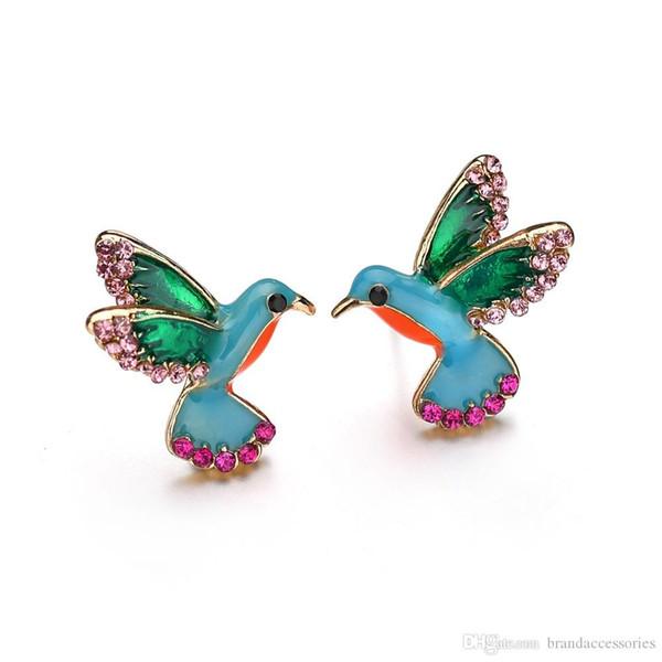 Rose Gold Women Party Stud Earrings Blue Green Birds Earrings Colorful Crystal Diamonds CZ Eardrop Alloy Drop Earrings Wedding Jewelry E1832