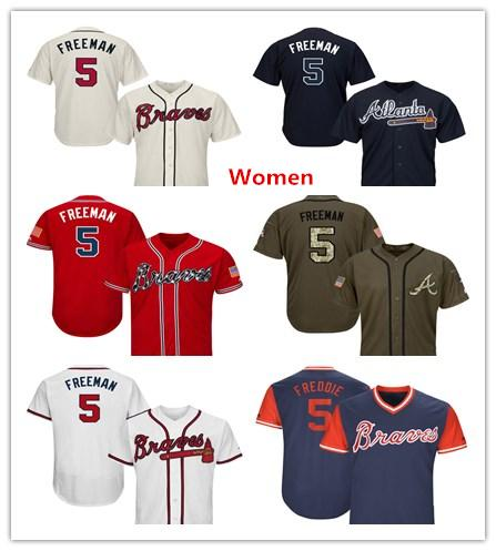 Womens Atlanta Braves Baseball Jerseys 5 Freddie Freeman Jersey White Navy Blue Cream Red Gray Grey Green Salute Players Weekend All Star
