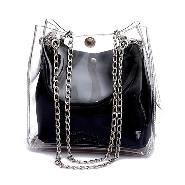 Hot Top Bucket Sacs PVC Transparent Totes Composite Chaîne Sac Femme De Mode Gelée Sacs À Main 2019 Nouveau Laser Sac De Plage