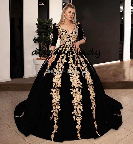 Black Velvet Ball Gown Prom Dresses With Gold Shiny Lace Applique 2020 Plus  Size Long Sleeve Kaftan Caftan Arabic Evening Gowns Wear Plus Size Dresses  ...