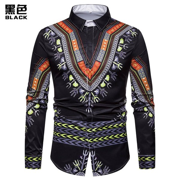Hot Europe and America 3D printed long-sleeve shirt men floral T-shirt M--3XL