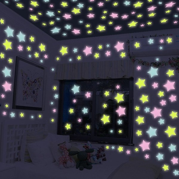 Three-dimensional night light sticker fluorescent Moon Star sticker living room bedroom children's dormitory wall sticker roof