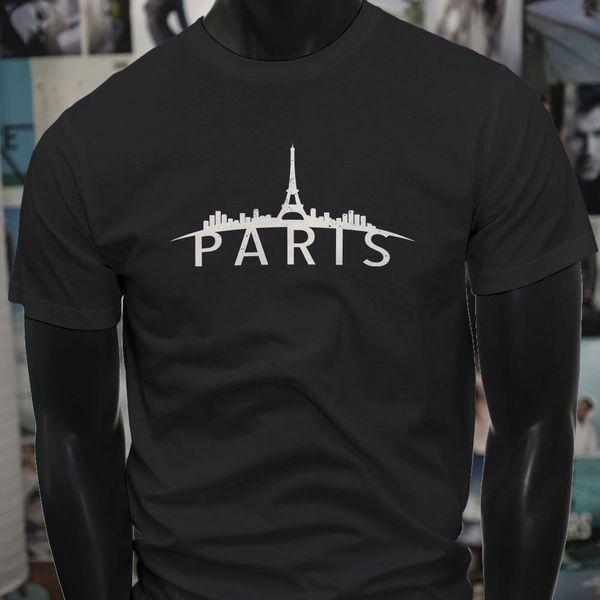 Paris Skyline France French Pride Torre Eiffel Mens Black T-Shirt Tees Shirt Uomo Man Homme Harajuku manica corta Cotton Custom XXXL Coppia