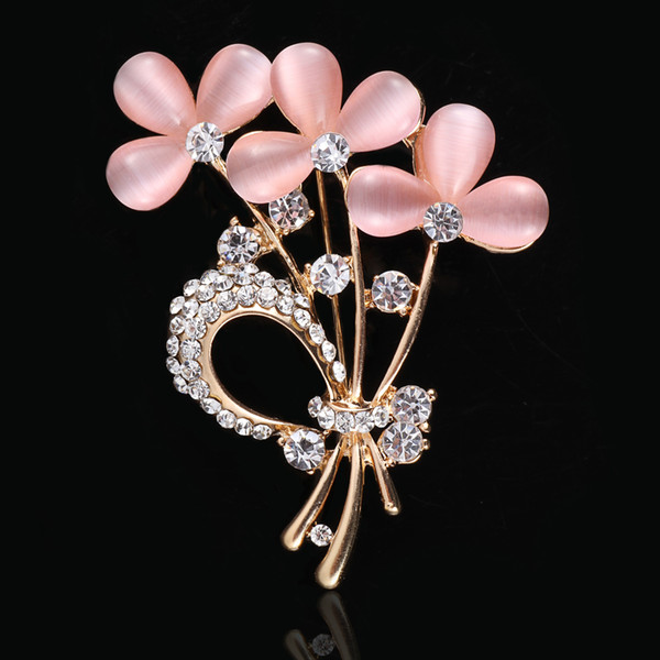 Colorful Rhinestone Crystal Big Water Drop Glass Dangle Bridal Brooch Wedding Pins Fashion Women's Pendant rose flower brooches Many Style