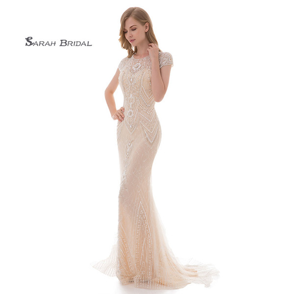 Long Luxury Crystal Mermaid Ivory Lace Prom Party Dresses 2019 Sexy Elegant Beading Vestidos De Festa Evening Occasion Gown LX477