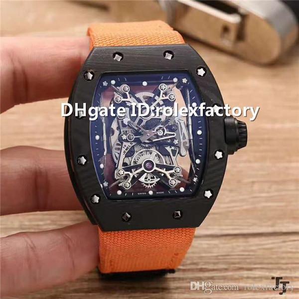 New Luxury 50-27-01 Watch Tourbillon Automatic Sapphire Titanium Carbon Case Skeleton Dial Canvas strap transparent case back Mens Watch