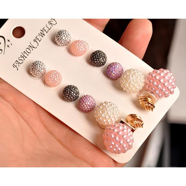 Novas mulheres da moda jóias senhoras por atacado festa de pérola rosa estilo Bohemian mix-and-match lindo 6 pares / set brincos de presente