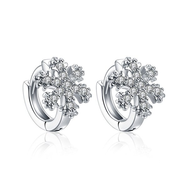 Small Fresh Earrings Snowflake Mosaic Zircon Rhodium Plated Clip-on & Screw Back Earring Accessories Fashionable Birthday Gifts POTALA156