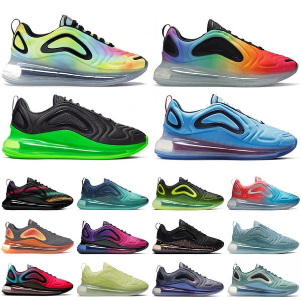 Yüksek Kalite 720OG Siyah Volt Batik Çin Uzay Keşif Paketi Erkekler Kadın Ayakkabı Gerçek Siyah Mesh neon çizgiler Tasarımcı Sneakers Be