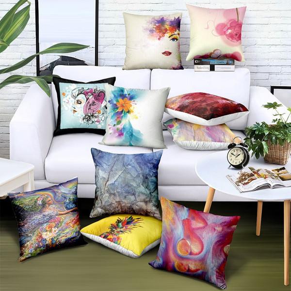 Benutzerdefinierte Großhandel Satin Kissenbezug 45 * 45 Wohnkultur Kreative Muster Print Logo Marke Werbung Geschenke Sofa Autostuhl Sitzkissenbezug