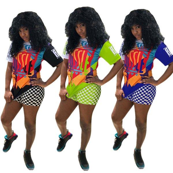 Nipsey Hussle Imprimer Femmes Designer Survêtements Graffiti Rapper T-shirt + Grille Shorts Ensembles Tenue De Damier De Mode Streetwear S-3XL C7803