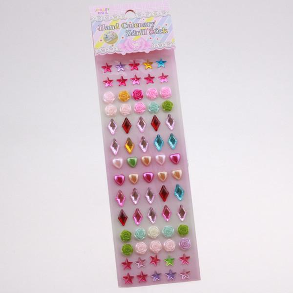 Separated Acrylic Beads Star/Pearls Flower/Heart Pearl/ Colorful Rhinestone Stones Mashup Self-Adhesive 100Pcs Wholesale