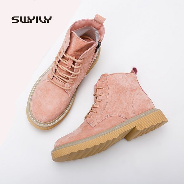 SWYIVY Martin Boots Woman Winter Genuine Leather Casual Shoe Ankle Booties Heel 2019 Spring British Style Women Retro Boot