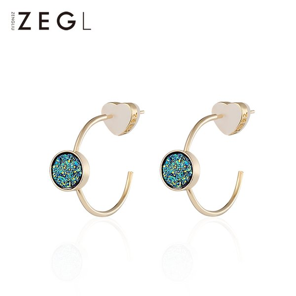 Zeglhoop Pendientes Pendientes de Declaración de Joyería de Moda de Piedra de Color 3D Para Mujeres Pendientes Geométricos Pendientes de Estrella de Moda Verde Y19062901
