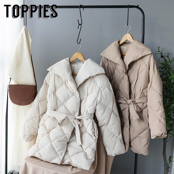 Manteau d'hiver des femmes à double boutonnage Doudoune coréenne dames Parkas lacent les vêtements en coton rembourré chaud